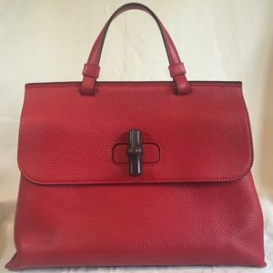 Gucci Bamboo Daily Medium Red Pebbled Leather Bag